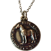 SALE PENDING ---Vintage Sterling Silver Lexington Kentucky Blue Grass Horse Charm Pendant Necklace