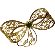 Vintage 12 K Gold Filled Filigree Ribbon Bow Brooch