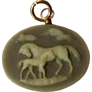 SALE PENDING  DO NOT BUY Vintage Gold Filled Wedgwood Horse Pendant Or Fob