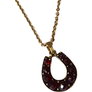 Upcycled Victorian Bohemian Garnet Horseshoe Stickpin Necklace