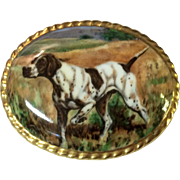 Vintage Aynsley Hand Painted English Bone China Pointer Hunting Dog Brooch