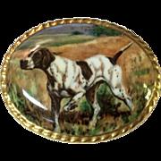 Vintage Aynsley Hand Painted English Bone China Pointer Hunting Dog Brooch