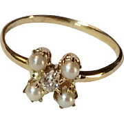 Edwardian 14 K Gold Mine Cut Diamond & Seed Pearl Ring