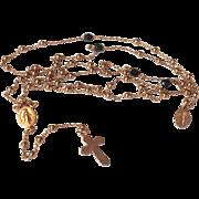 Vintage Silver Rose Gold Gilt Catholic Rosary