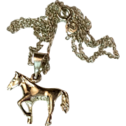 Vintage Sterling Silver Horse Pendant Charm Necklace