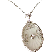 Art Deco 14 K Gold Camphor Glass Diamond Necklace Pendant