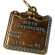Vintage Gold Gilt Birth Certificate Charm