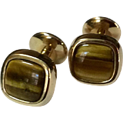 Vintage Lavin Gold Filled Banded Agate Cuff Links