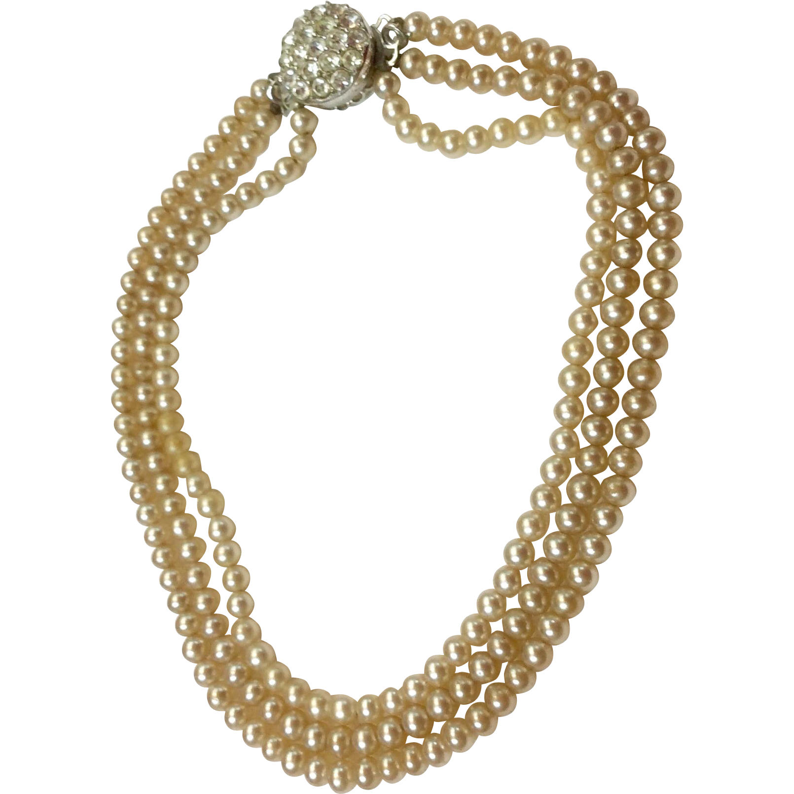 Wonderful Triple Strand Faux  Pearls With Reversible Two Sided Catch