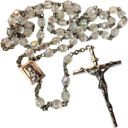 Vintage Aurora Borealis Silver Catholic Rosary