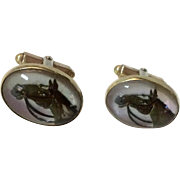 Equestrian Horse Head Reverse Carved Hand Painted Intaglio Glass Cufflinks