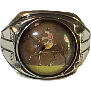Vintage Equestrian Reverse Carved Hand Painted Intaglio Glass Ring