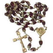 Vintage Garnet Glass End Capped Bead Catholic Rosary