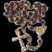 Vintage Garnet Glass End Capped Bead Catholic Rosary