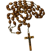 Early French Hand Carved Wooden Bead Large Rosary