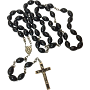 Early Large French Wooden Bead Catholic Rosary