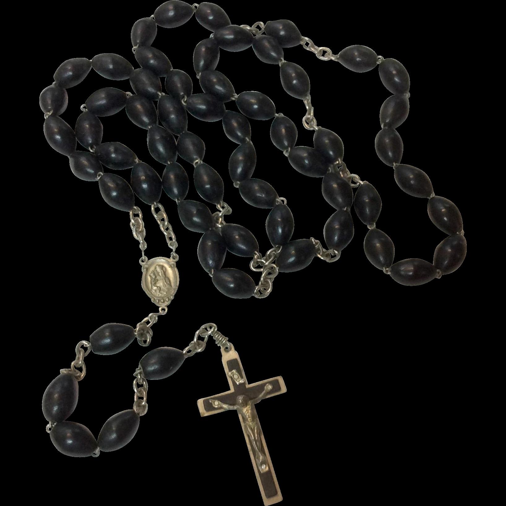 Early Large French Wooden Bead Catholic Rosary