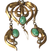 Art Deco Gold Tone Metal Faux Jade Mississippi River Pearl Dangle Brooch