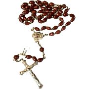 Vintage Sterling Silver Cocoa Bead Italian Catholic Rosary