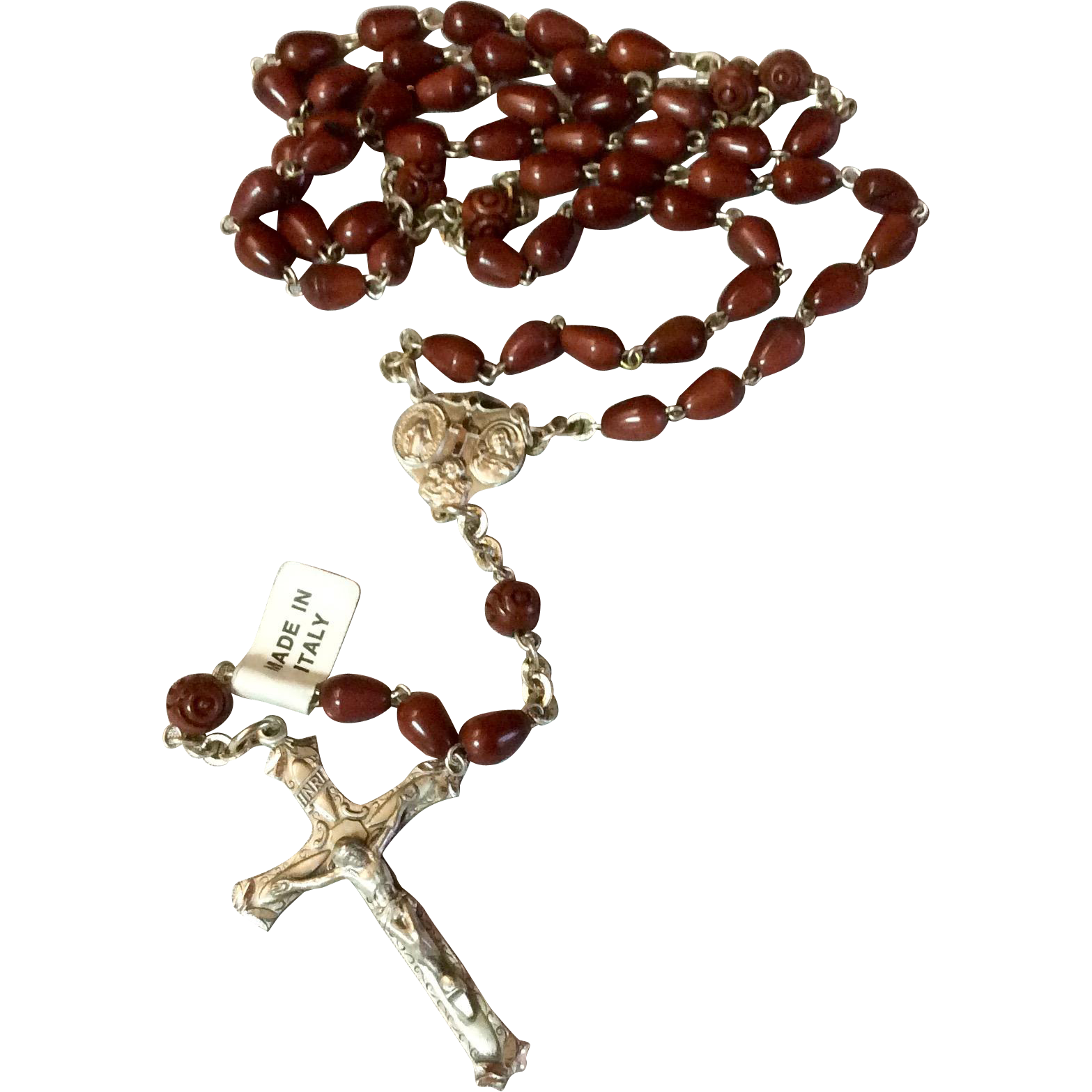 Vintage Sterling Silver Cocoa Bead Italian Catholic Rosary