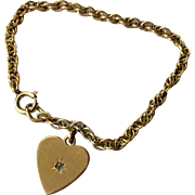 Vintage Gold Filled Twisted Link Bracelet With Heart Charm