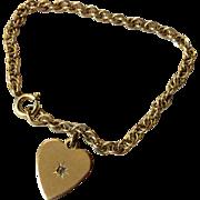Vintage Gold Filled Twisted Link Bracelet With Heart Charm