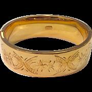 Vintage Wide Gold Filled Hinged Bangle Bracelet