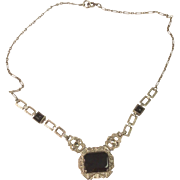 Art Deco Sterling Silver Black Onyx Necklace