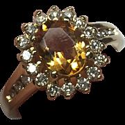 Vintage 14 K Gold Citrine & Diamond Ring