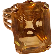 Vintage 14K Gold Large Citrine Statement Ring