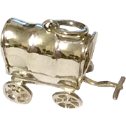 Vintage Sterling Silver Mechanical Covered Wagon Charm