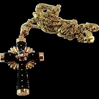 Antique Victorian 18 K Gold Paste Bog Oak Cross & 18 K Gold Chain