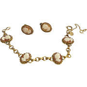 Vintage Gold Filled Cameo Bracelet & Earrings