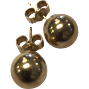 Vintage 18 K Gold 8 MM Ball Earrings