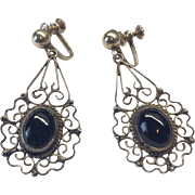 Vintage Sterling Silver Mexican Dangle Black Onyx Earrings