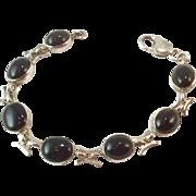 Vintage Sterling Silver Black Onyx Flexible Link Bracelet