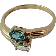 Vintage 14 K Gold Blue Zircon & White Sapphire By Pass Ring