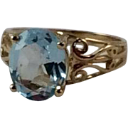 Vintage Sky Blue 10 K Gold Ring