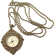 Vintage Sterling Silver Marcasite Quartz Watch & Sterling Silver Chain