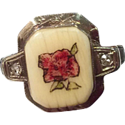 Vintage 1930'S 14 K  White Gold Hand Painted Rose On Bone & Diamond Ring