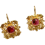 Egyptian Revival Gilt Silver Garnet Earrings