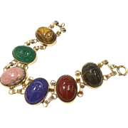 Gold Filled Egyptian Revival Double Link Scarab Bracelet