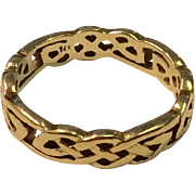 Vintage 14 K Gold Celtic Rope Design Wedding Band