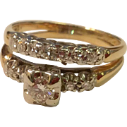 Vintage 1940'S 14 K Gold Two-Tone Diamond Wedding Ring Set