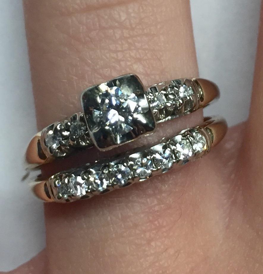 Vintage 1940 S 14 K Gold Two Tone Diamond Wedding Ring Set