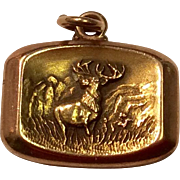 Vintage 10 K Gold Elk Watch Fob Charm