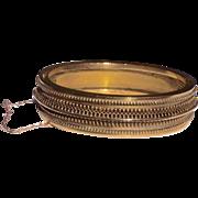 Etruscan Revival Gold Filled Hinged Bangle Bracelet