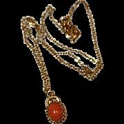 Vintage Danecraft Vermeil Coral Pendant & Chain