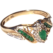 Vintage 10 K Gold Emerald Ring