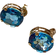 Vintage 14 K Gold Blue Topaz Earrings